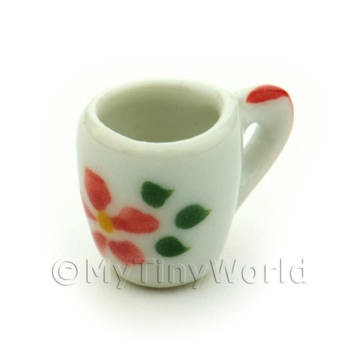Dolls House Miniature Hibiscus Design Ceramic Soup Mug