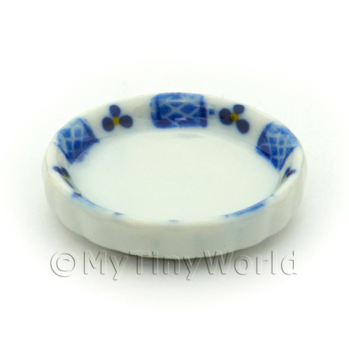 Dolls House Miniature Blue Lace Design Ceramic Flan Dish