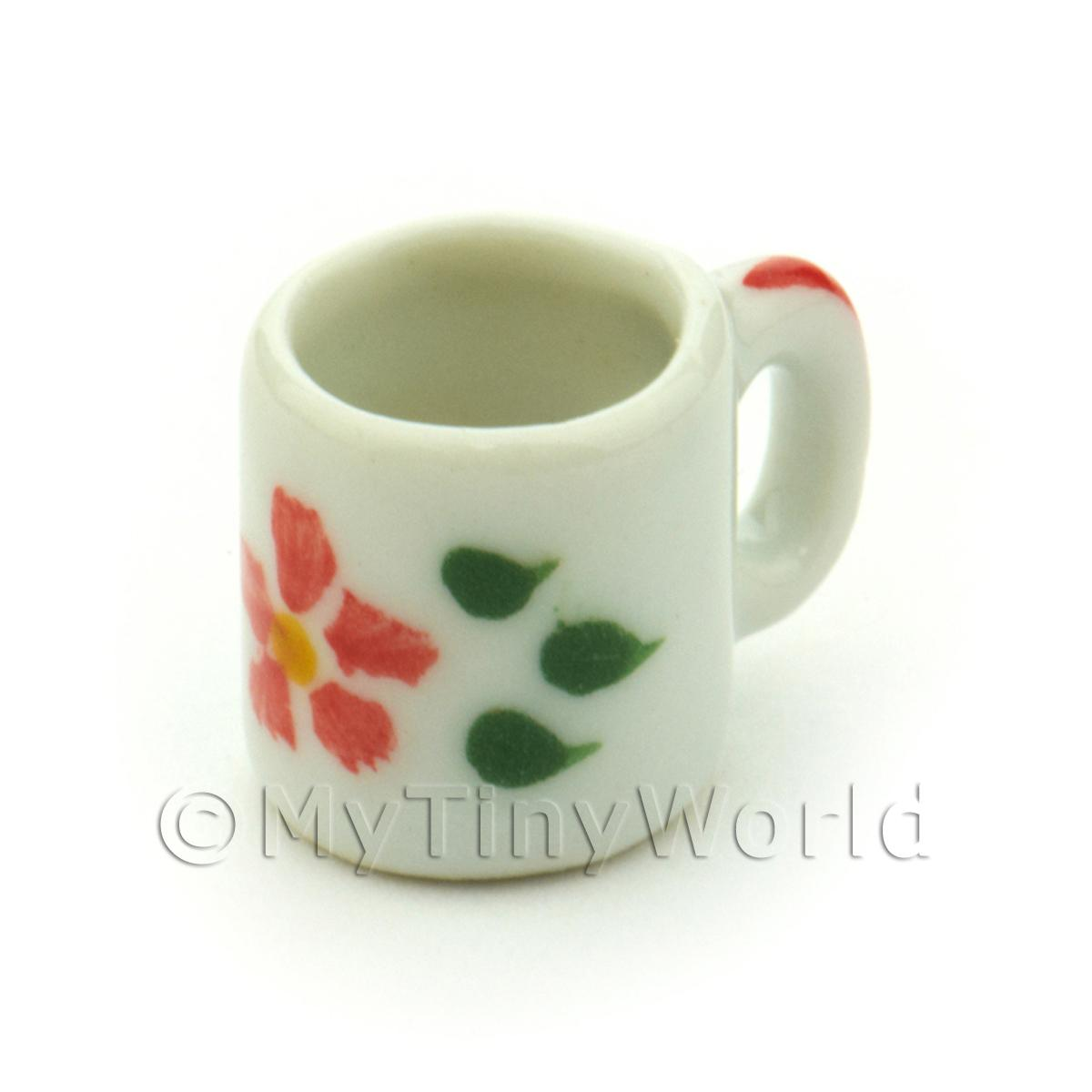 Dolls House Miniature Hibiscus Design Ceramic Coffee Mug