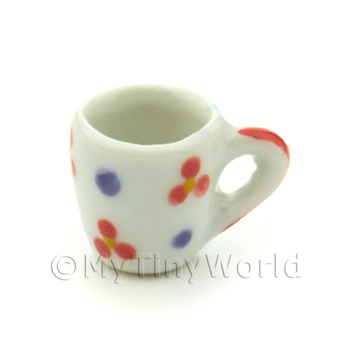 Dolls House Miniature Flower Design Ceramic Soup Mug