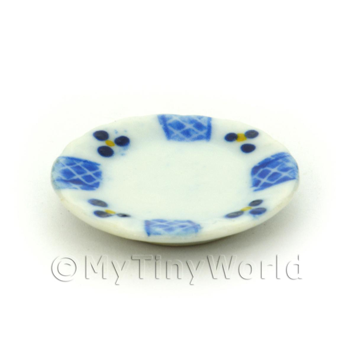 Dolls House Miniature 20mm Blue Lace Design Ceramic Plate