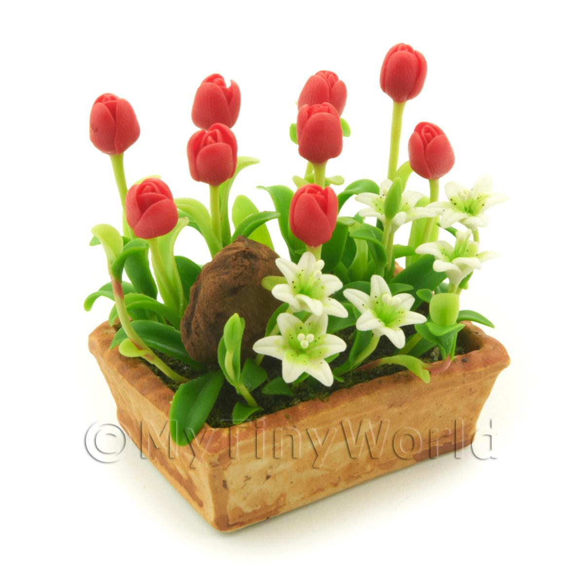 Dolls House Miniature Red Tulip And White Stargazer Lillies