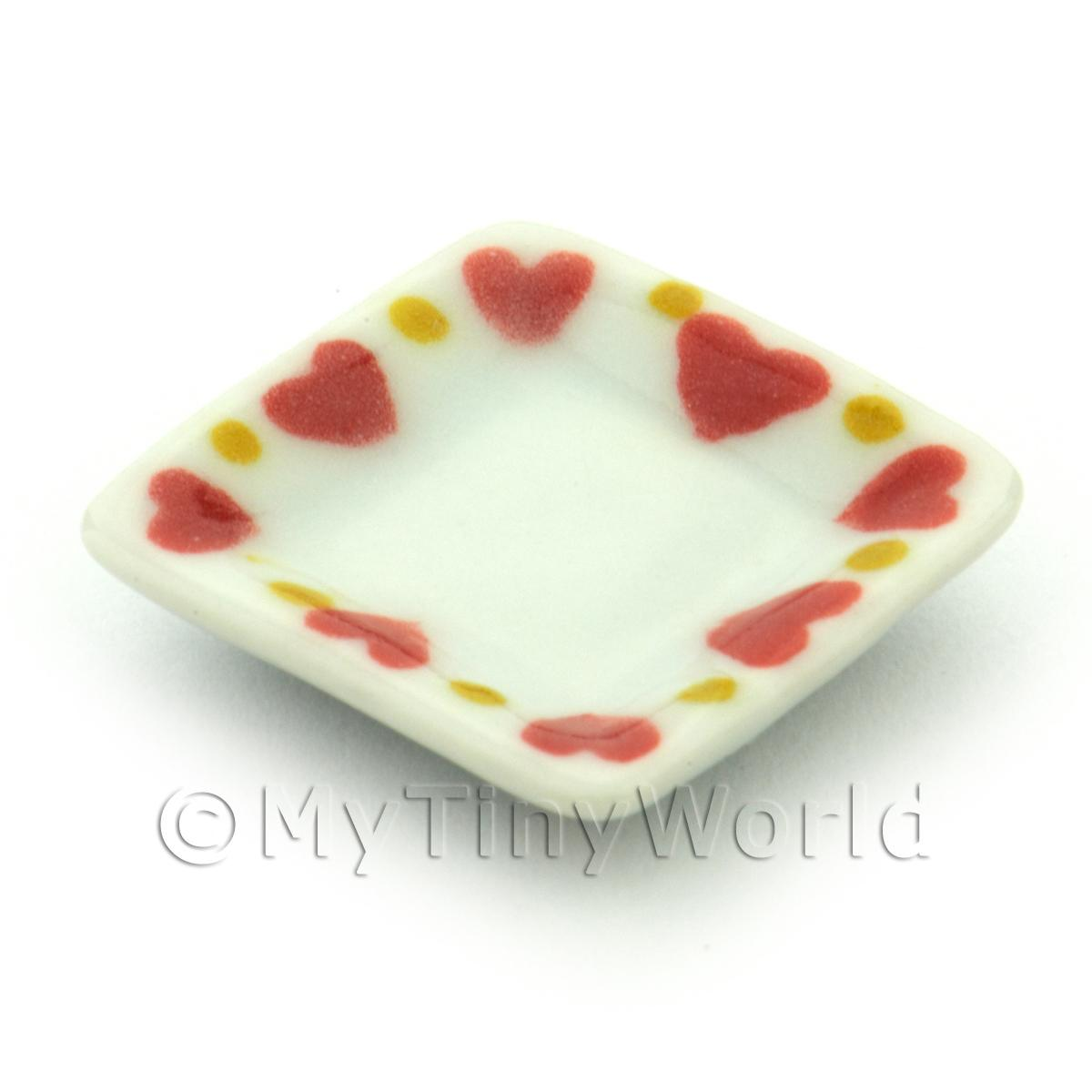 Dolls House Miniature Heart Pattern Ceramic 21mm Square Plate