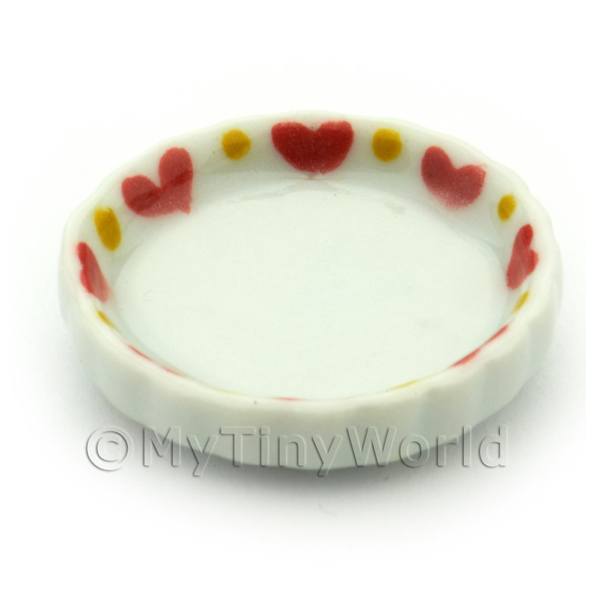 Dolls House Miniature Ceramic Flan Dish With Heart Pattern