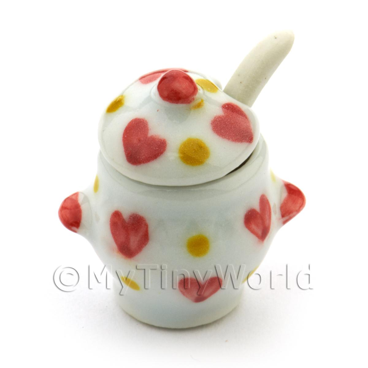 Dolls House Miniature Ceramic Soup Terrain With Heart Pattern