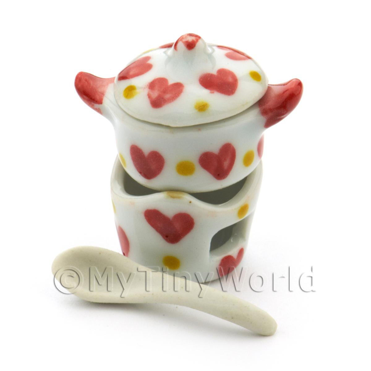 Dolls House Miniature Heart Pattern Ceramic Fondue Set