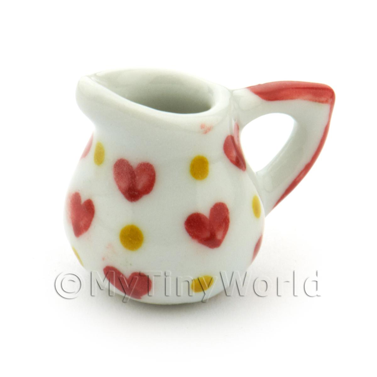 Dolls House Miniature Heart Pattern Ceramic Water Jug