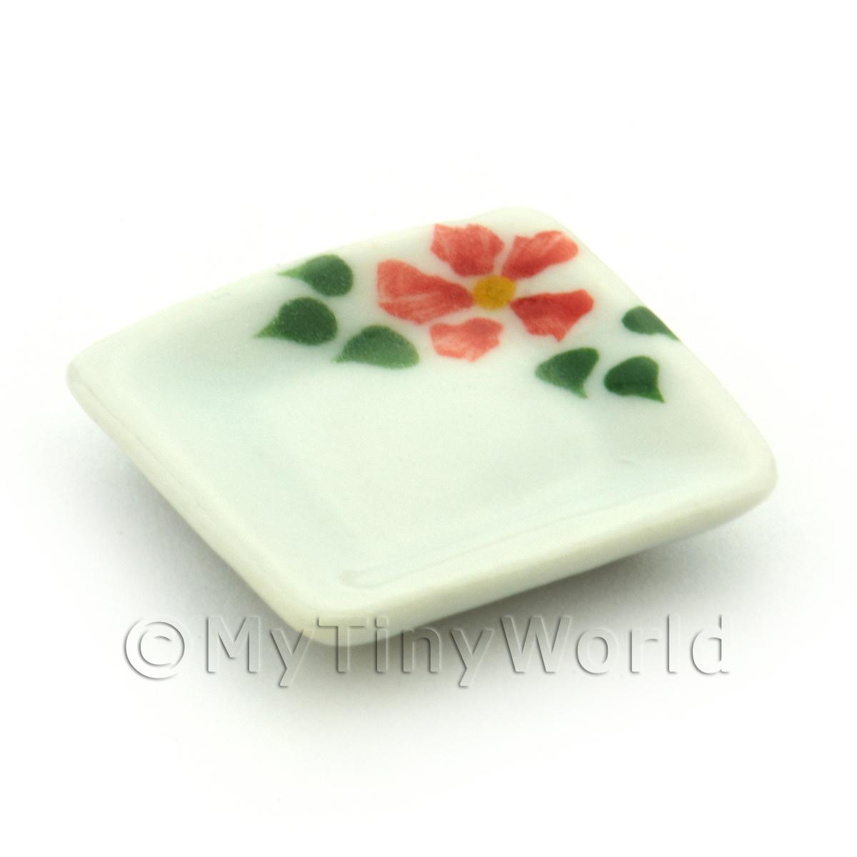 Dolls House Miniature Hibiscus Design Ceramic 21mm Square Plate