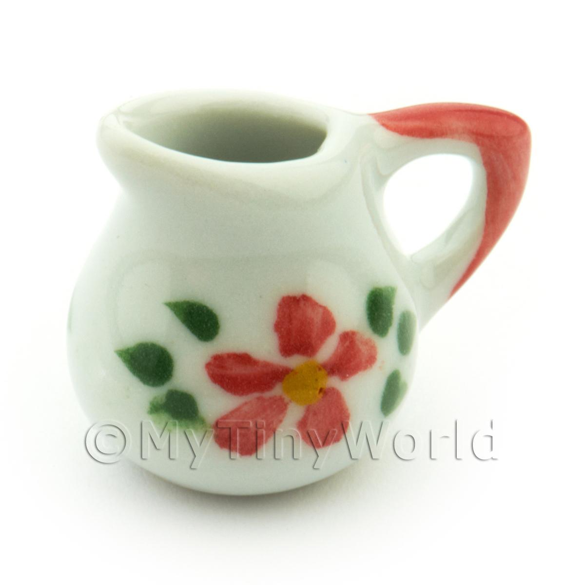 Dolls House Miniature Hibiscus Design Ceramic Water Jug