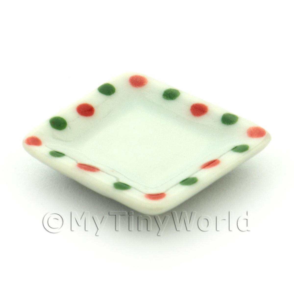 Dolls House Miniature Dotty Design Ceramic 21mm Square Plate