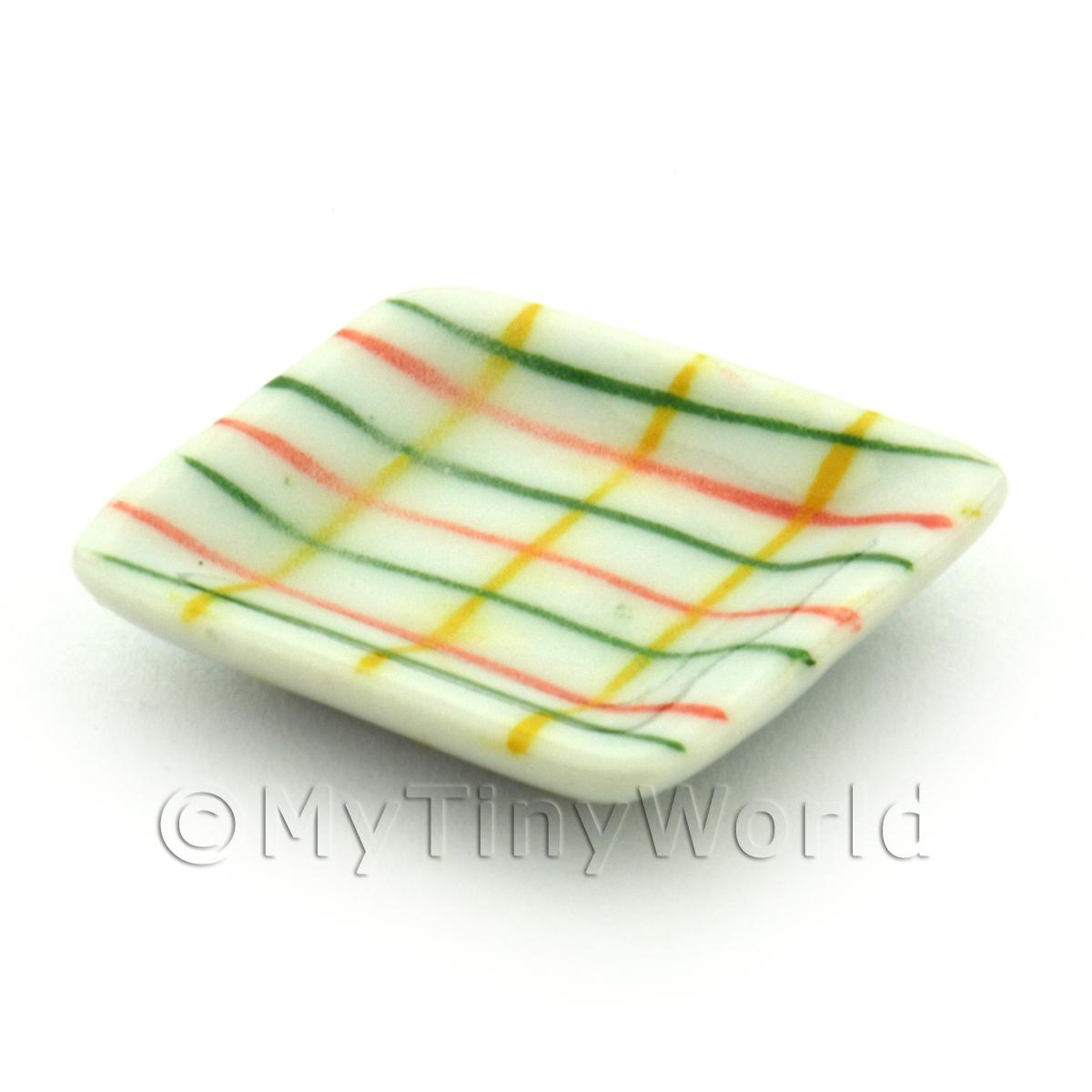 Dolls House Miniature Crosshatch Pattern Ceramic 21mm Square Plate