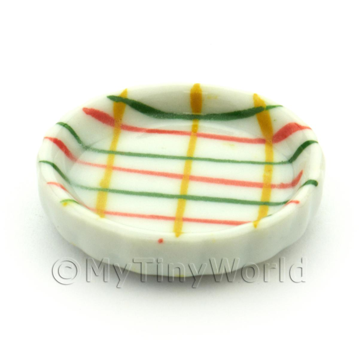 Dolls House Miniature Crosshatch Pattern Ceramic Flan Dish