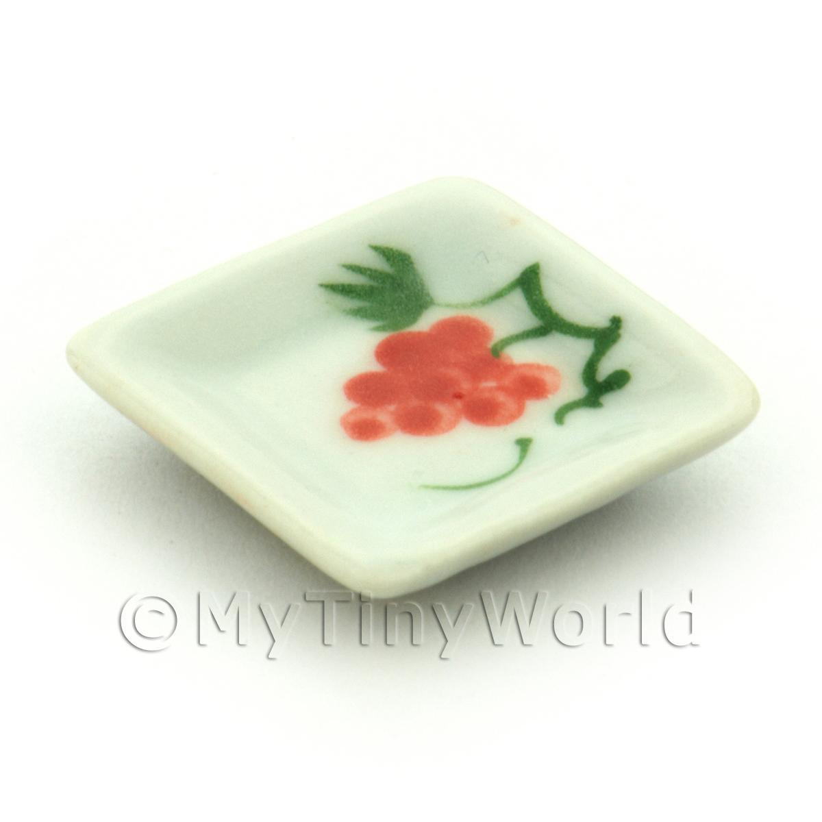 Dolls House Miniature Grape Design 21mm Ceramic Square Plate