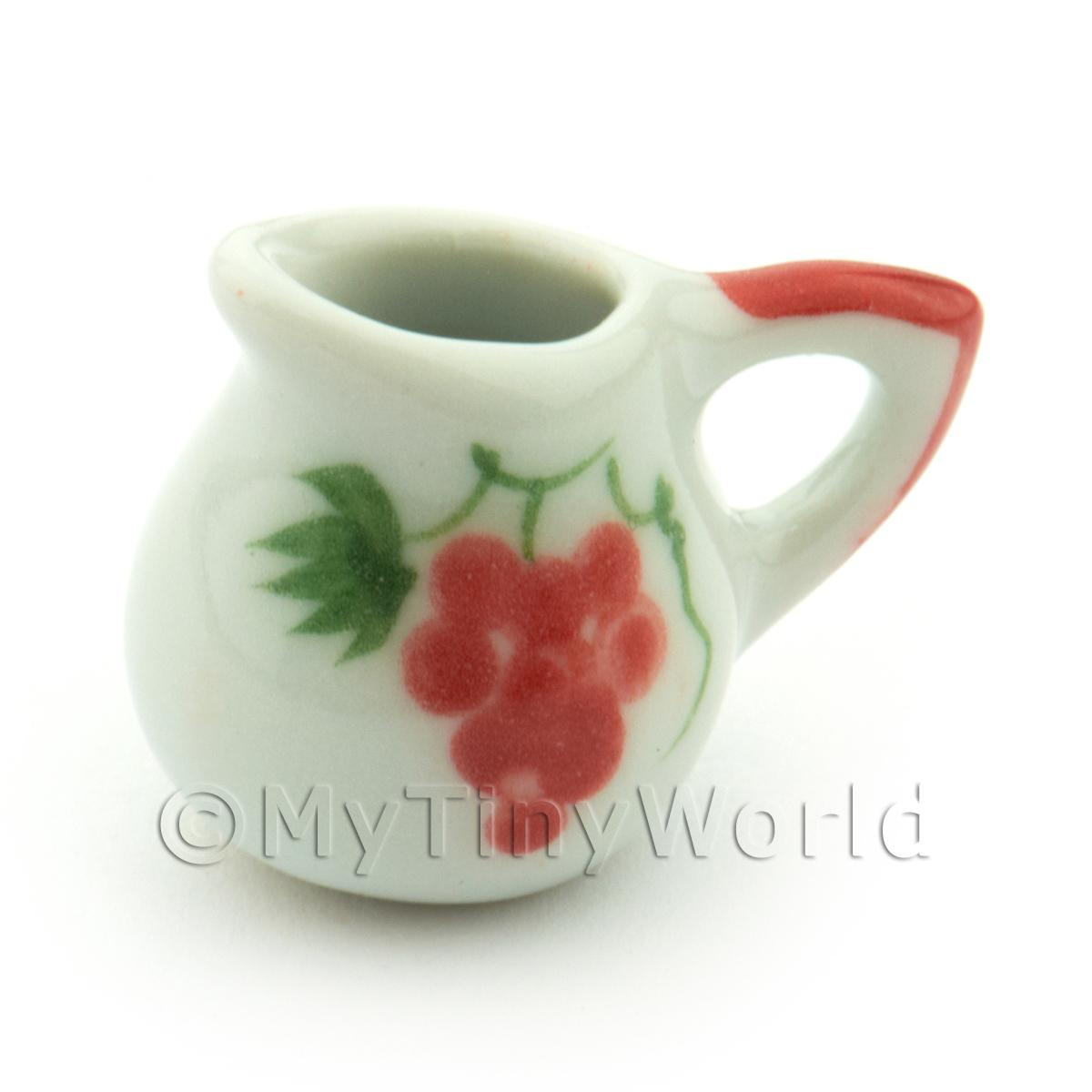 Dolls House Miniature Grape Design Ceramic Round Water Jug