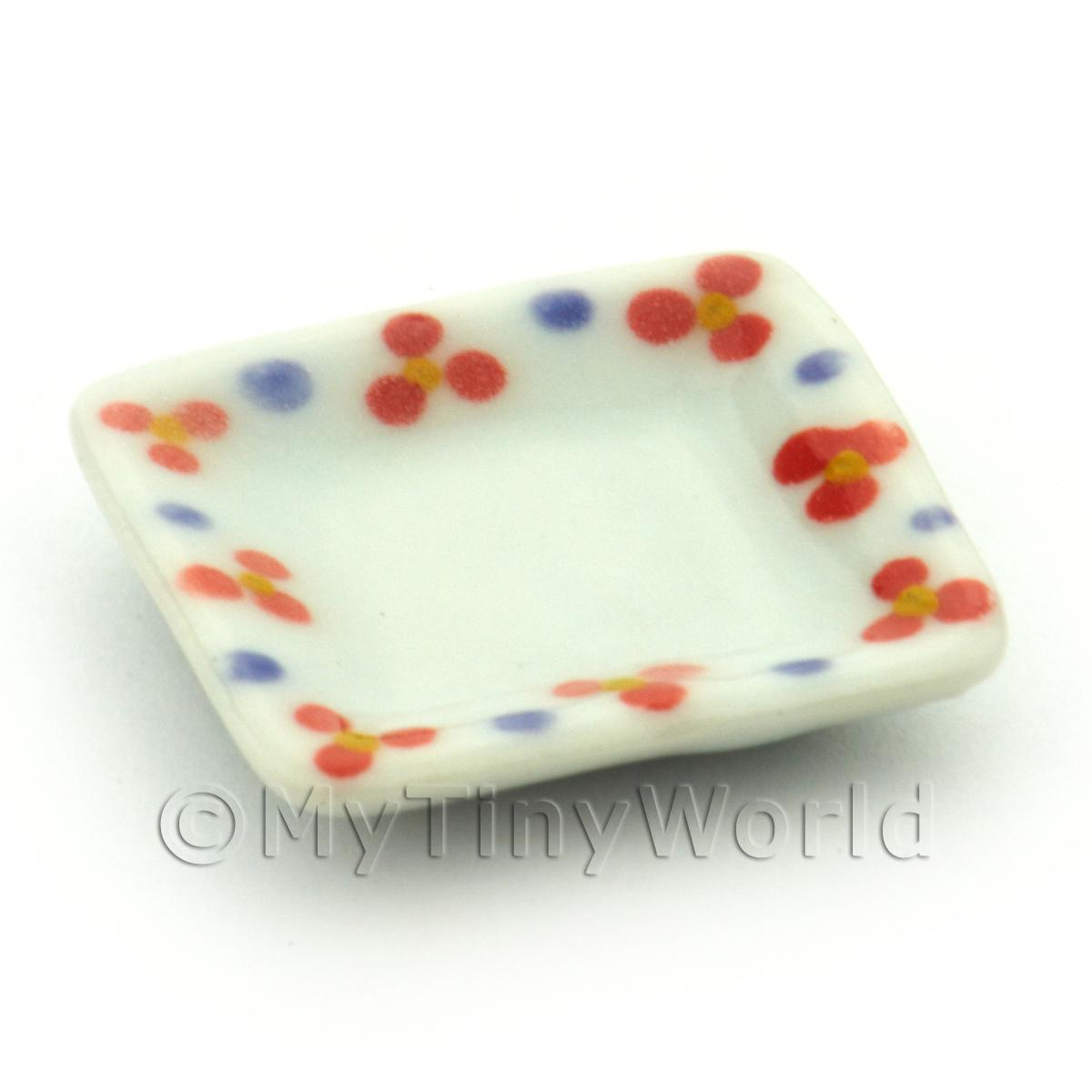 Dolls House Miniature Flower Design 21mm Ceramic Square Plate