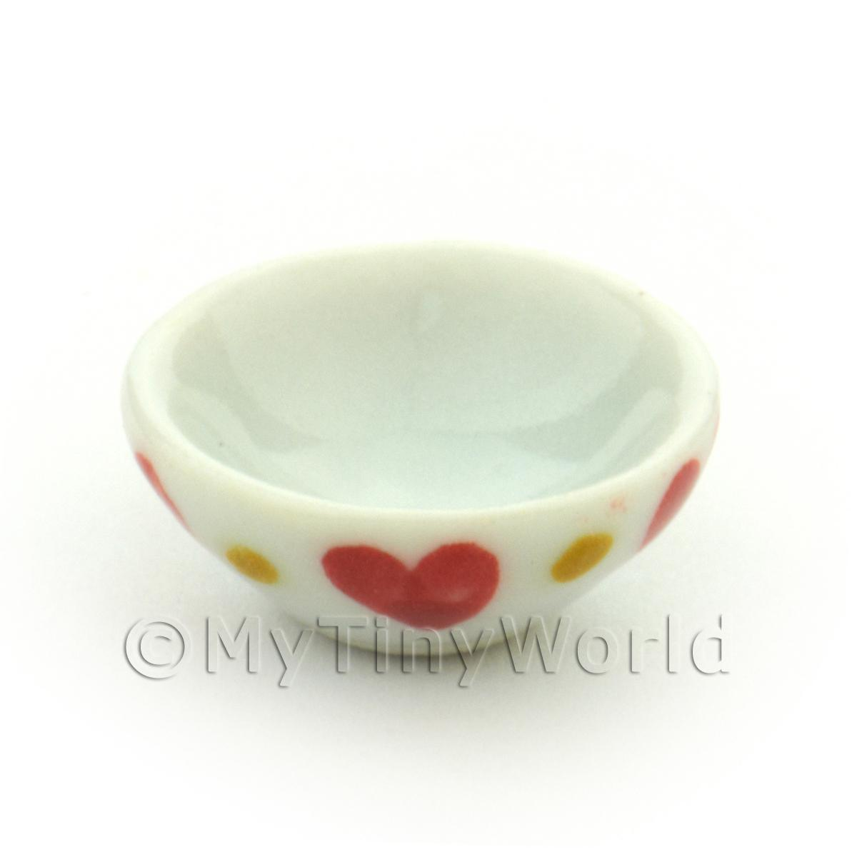 Dolls House Miniature Heart Pattern Ceramic 16mm Bowl