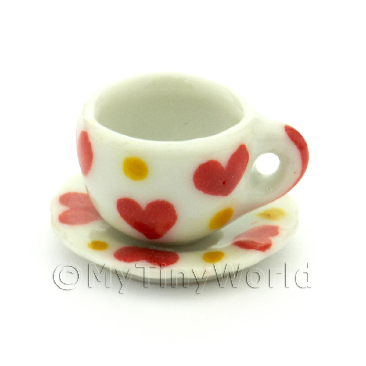 Dolls House Miniature Ceramic Cup And Saucer With Heart Pattern