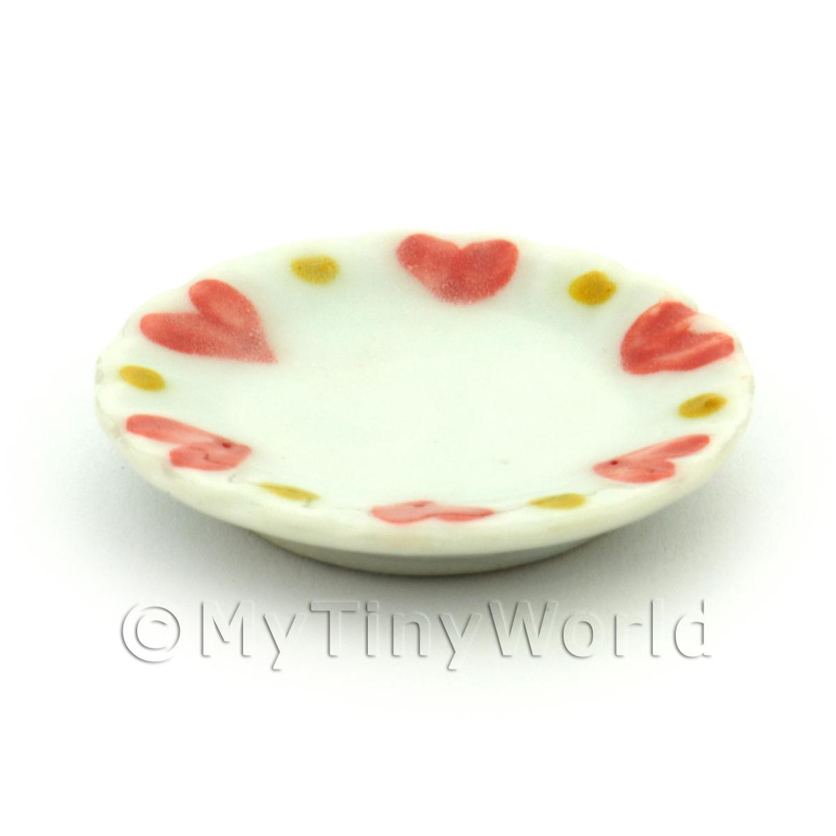 Dolls House Miniature Ceramic 25mm Plate With Heart Pattern