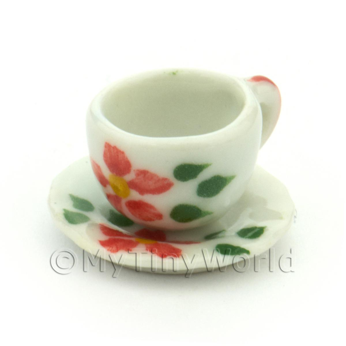 Dolls House Miniature Hibiscus Design Ceramic Cup And Saucer