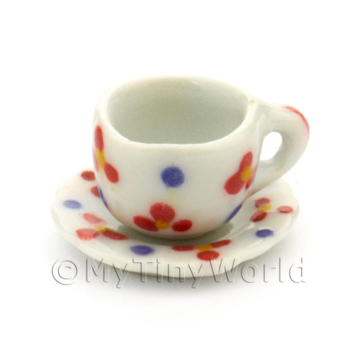 Dolls House Miniature Flower Design Ceramic Cup And Saucer