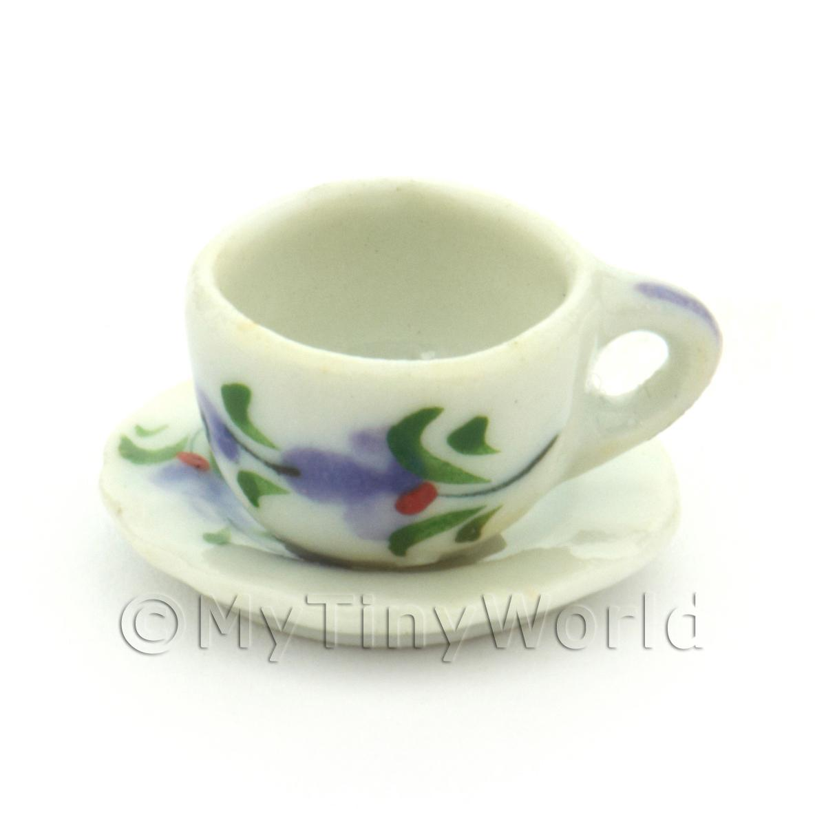 Dolls House Miniature Purple Orchid Design Ceramic Cup And Saucer