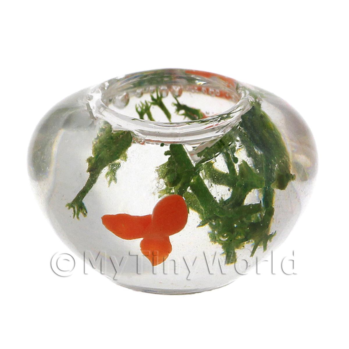 Dolls House Miniature Gold Fish In Classic Glass Bowl