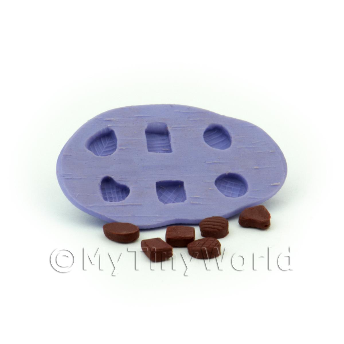 Dolls House Miniature 6 Piece Textured Top Chocolate Mould