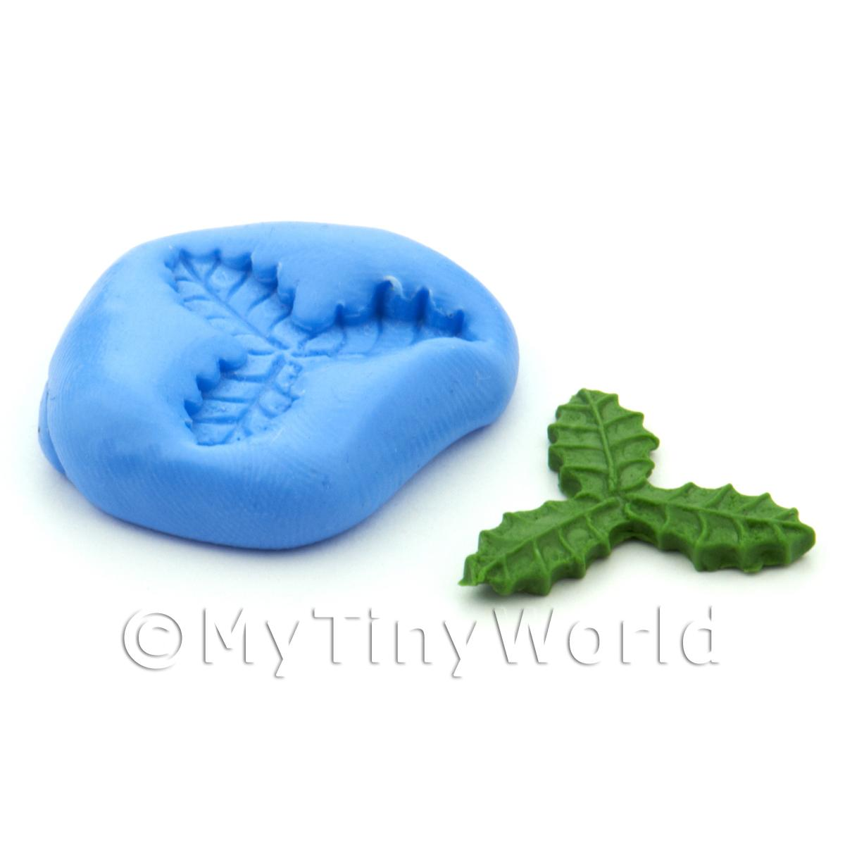 Dolls House Miniature Triple Holly Leaf Silicone Mould