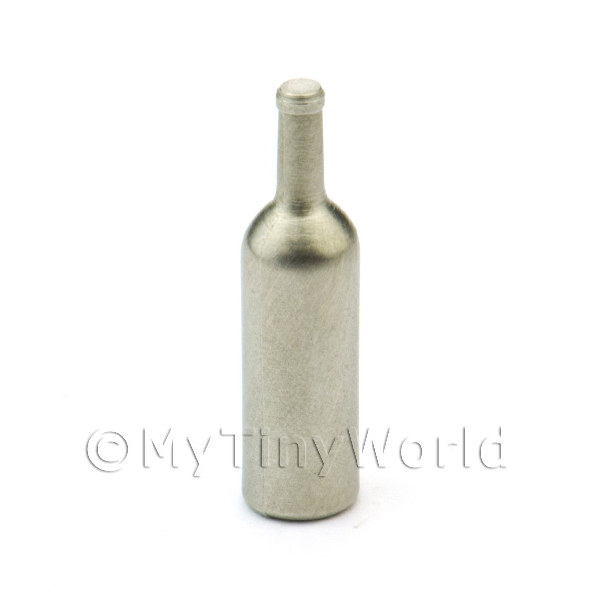 Dolls House Miniature White Metal Wine Bottle