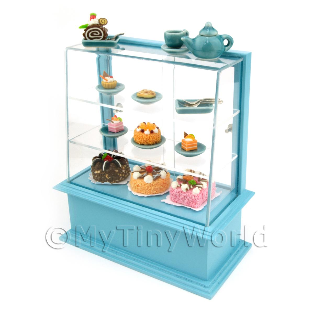 Dolls House Miniature Blue Themed Cafe Display