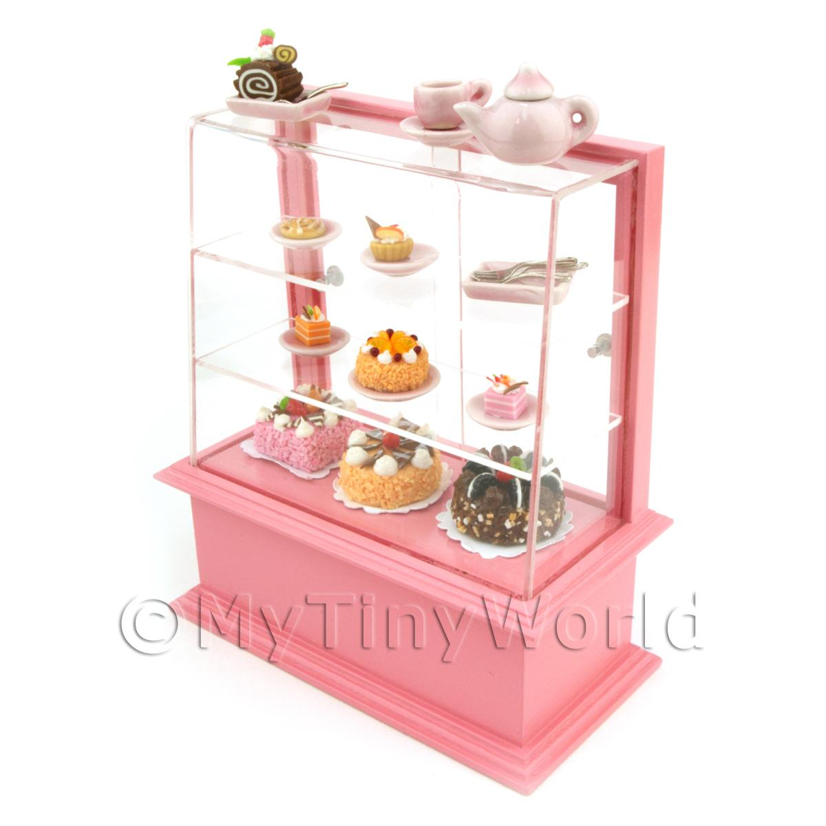 Dolls House Miniature Dark Pink Themed Cafe Display