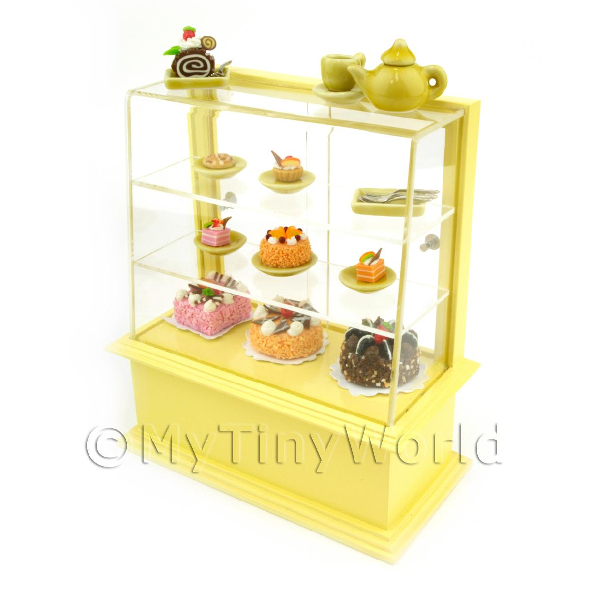 Dolls House Miniature Yellow Themed Cafe Display