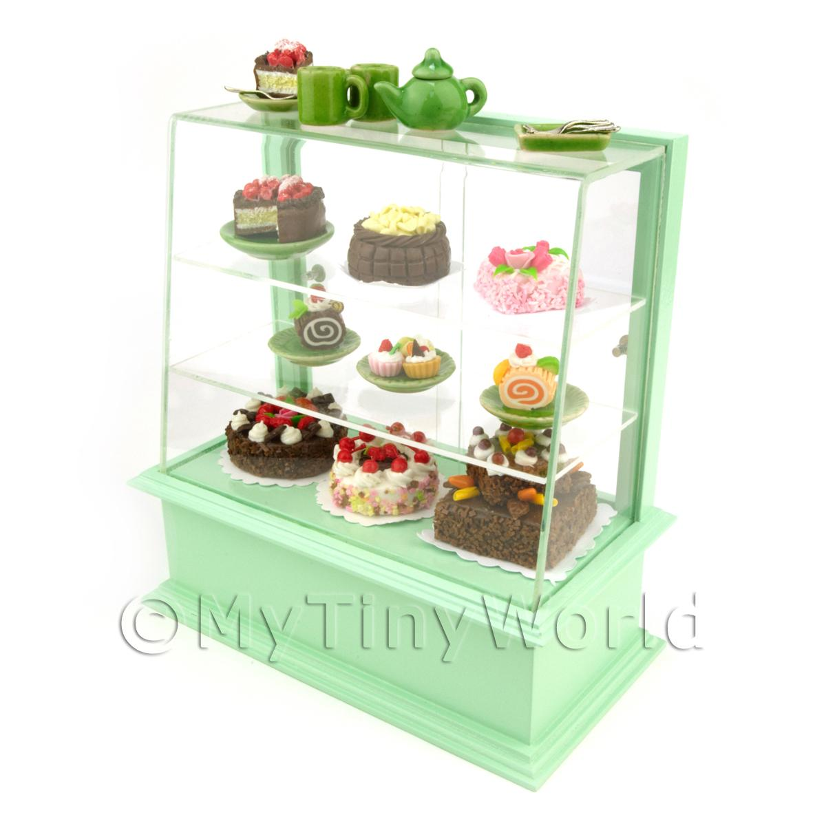 Dolls House Miniature Filled Pastel Green Patisserie Display