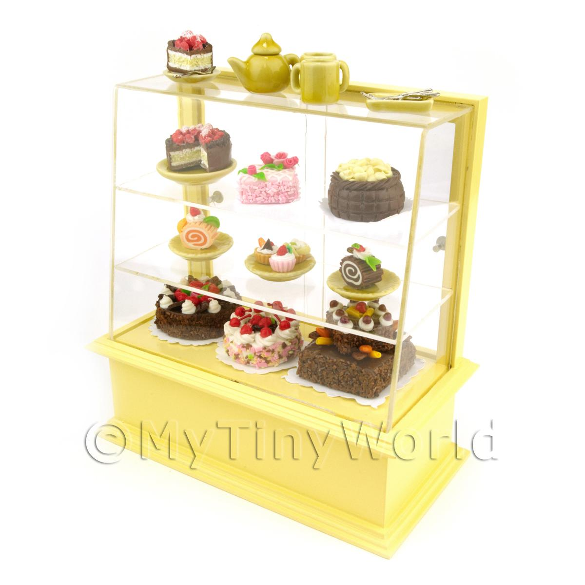 Dolls House Miniature Filled Pastel Yellow Patisserie Display