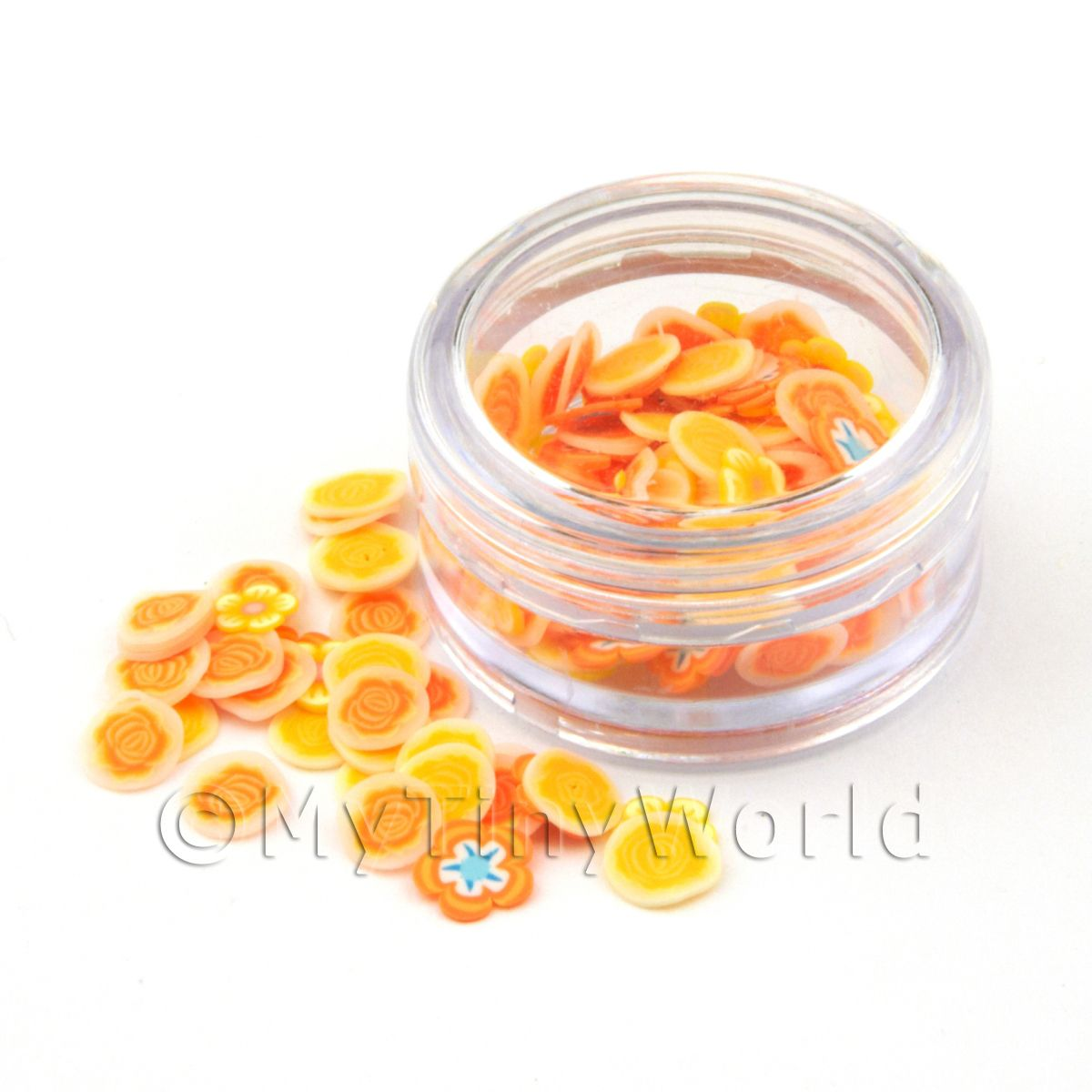 Pot With 120 Mixed Rose And Orange Flower Nail Art Slices