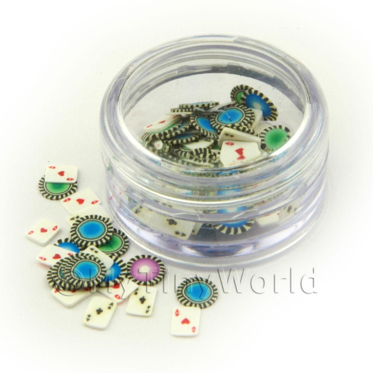 Pot With 120 Mixed Poker Pack Themed Nail Art Slices