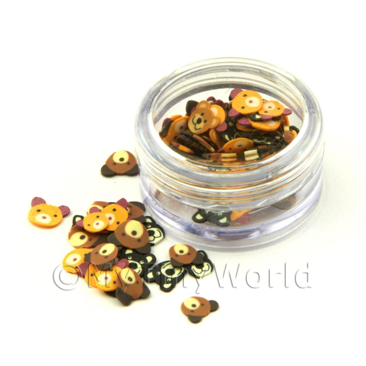 Mixed Bear Nail Art Pot Containing 120 Slices
