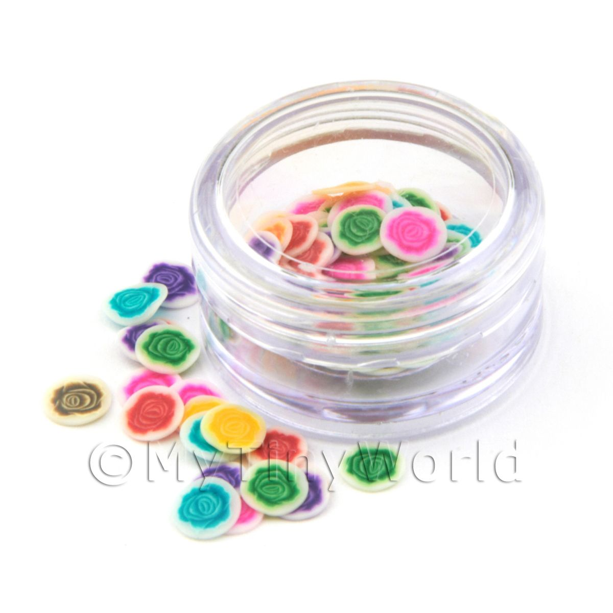 Mixed Roses Nail Art Pot Containing 120 Slices