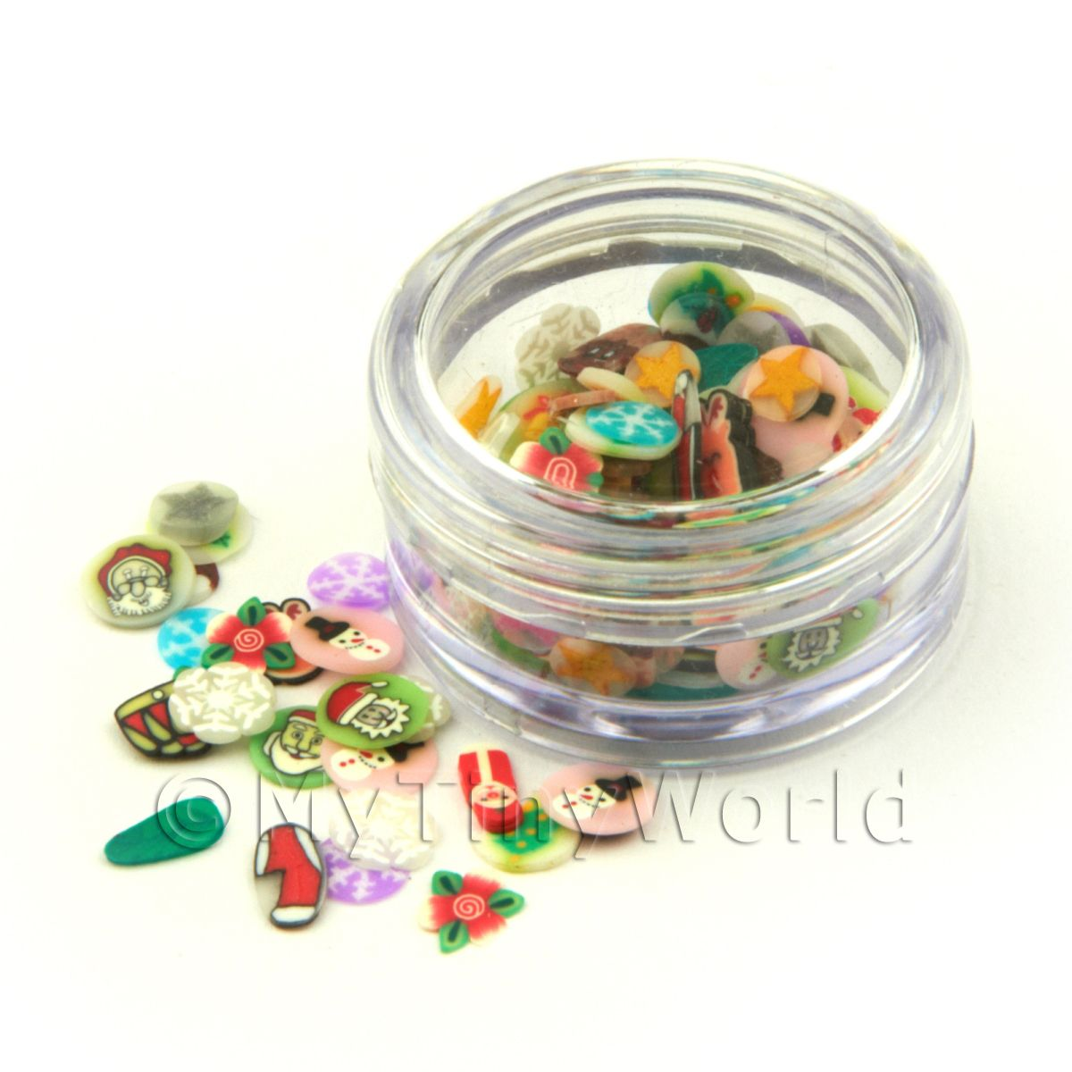 Christmas Themed Nail Art Pot Containing 120 Slices