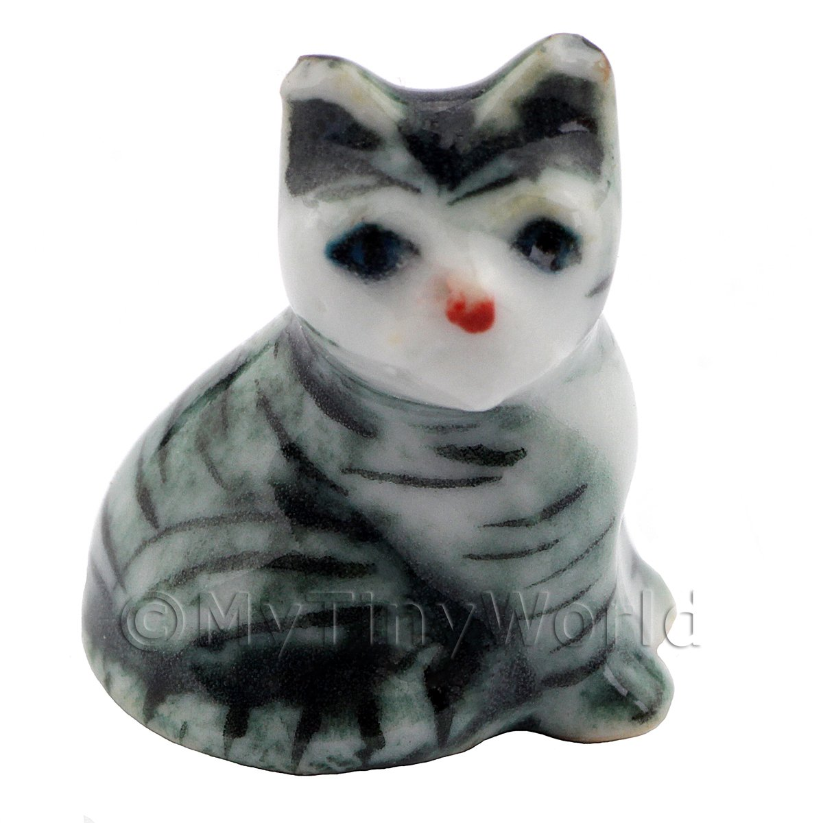 Dolls House Miniature Ceramic Grey and White Tabby Cat Sitting Down