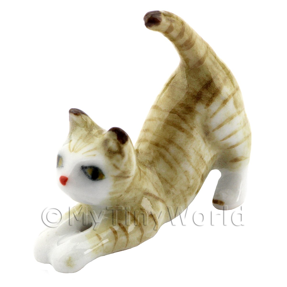 Dolls House Miniature Ceramic Brown and White Tabby Cat Stretching