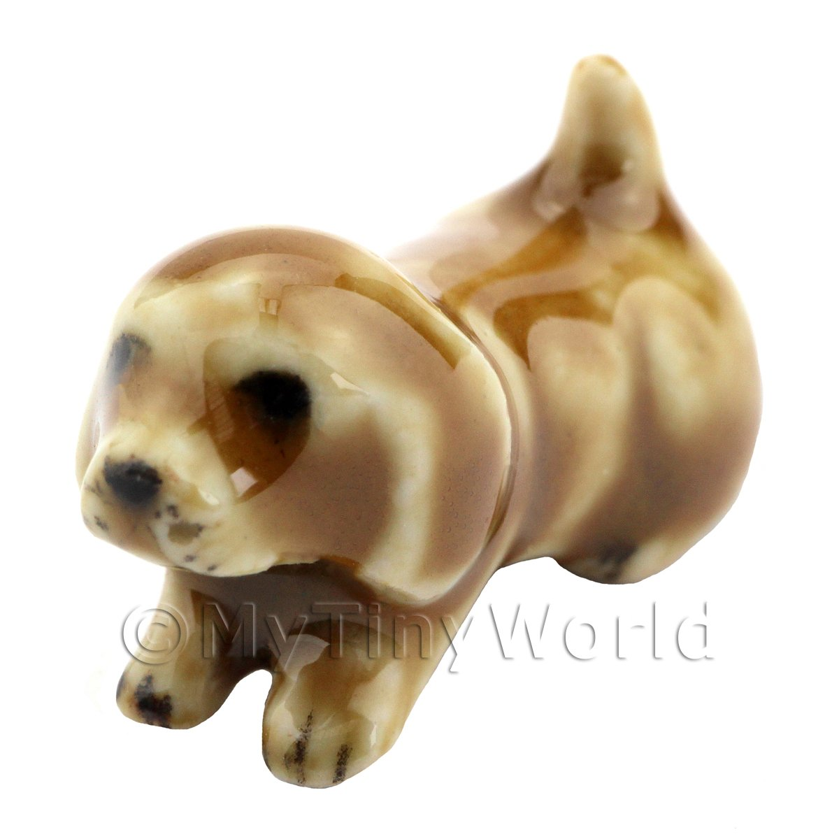 Dolls House Miniature Ceramic Brown Dog Laying Down