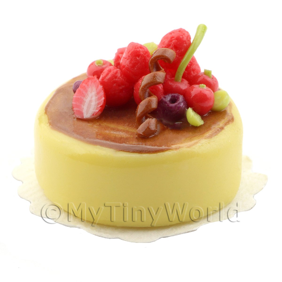 Dolls House Miniature Handmade Lemon Cake with Strawberries