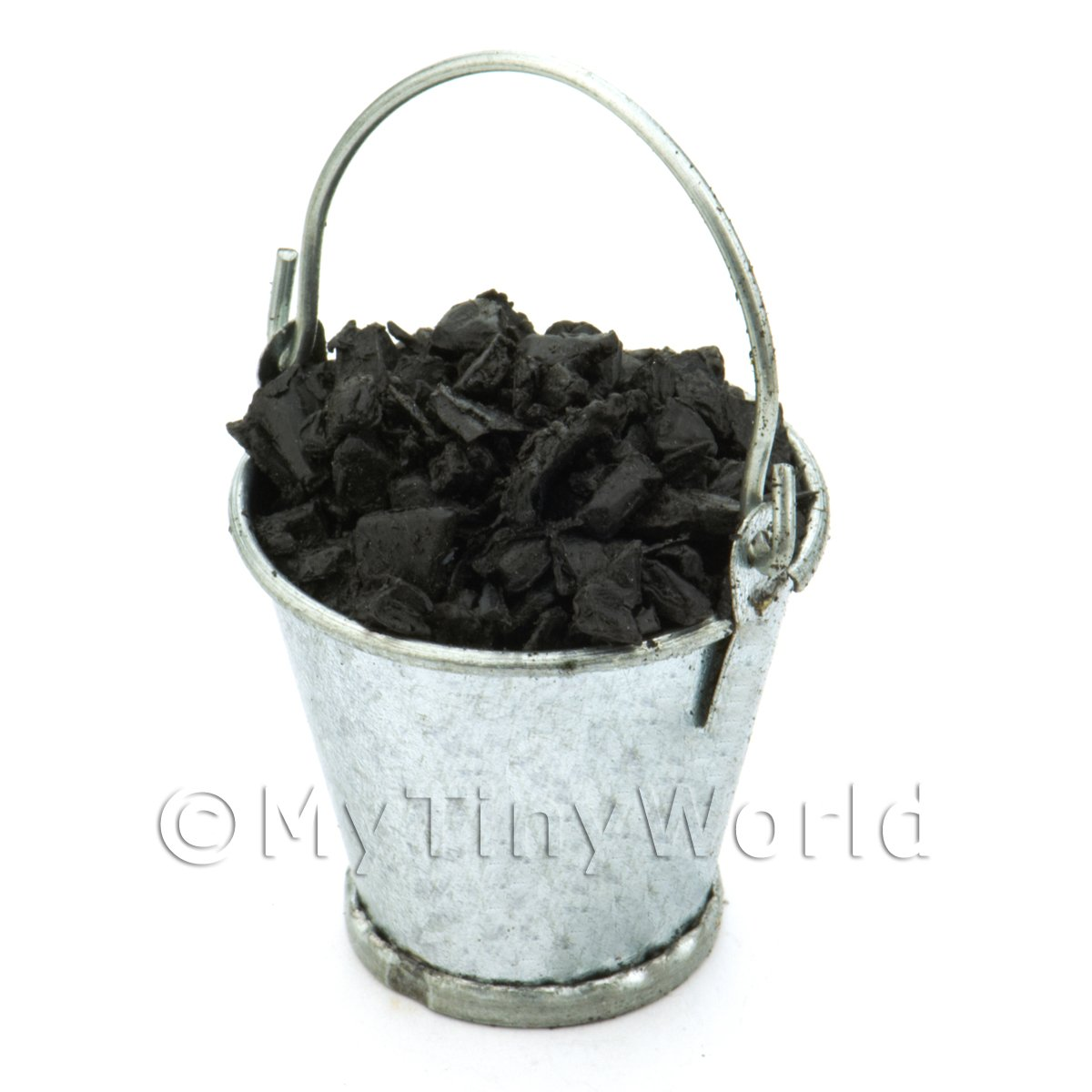 Dolls House Miniature Bucket Filled With Coal