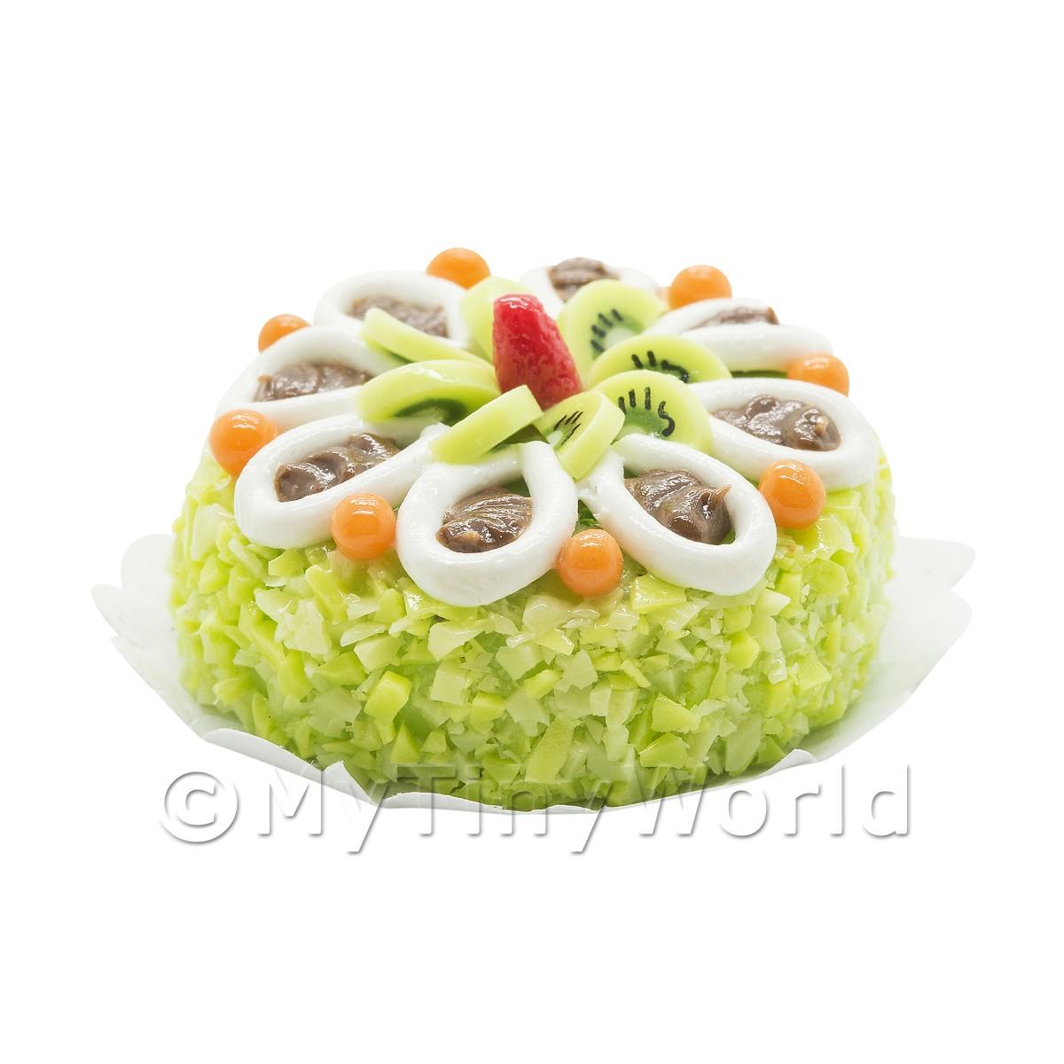 Dollhouse Miniature Fruit /& Cream Pie*Doll Mini Sweet Food Tart Flan Cake Bakery