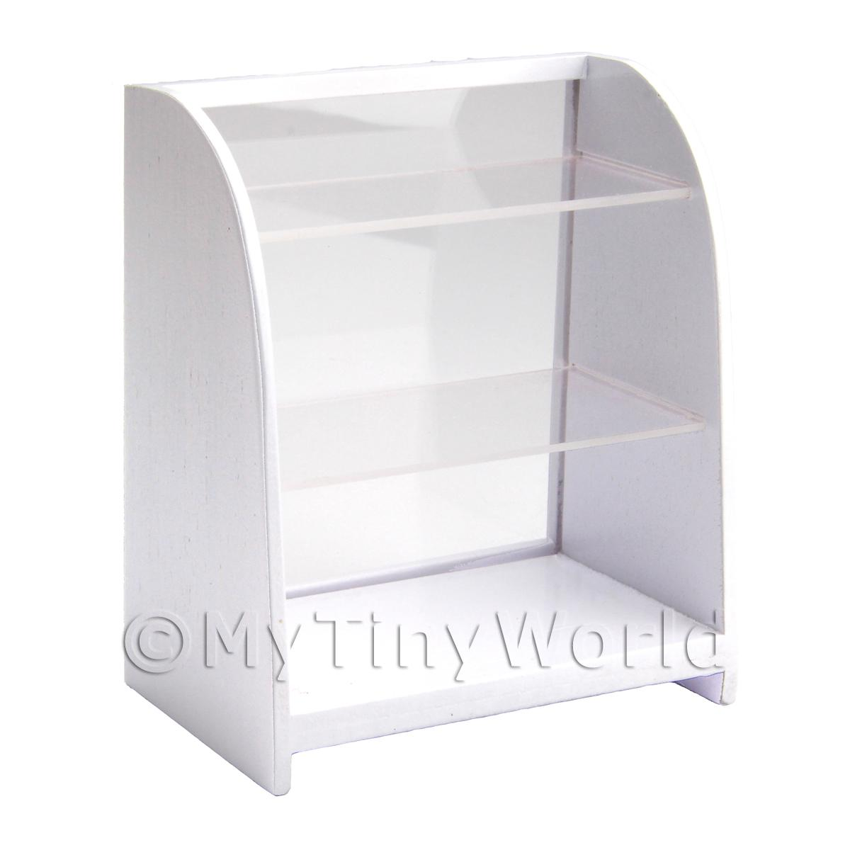 Dolls House Miniature White Wood Table Top Display Unit