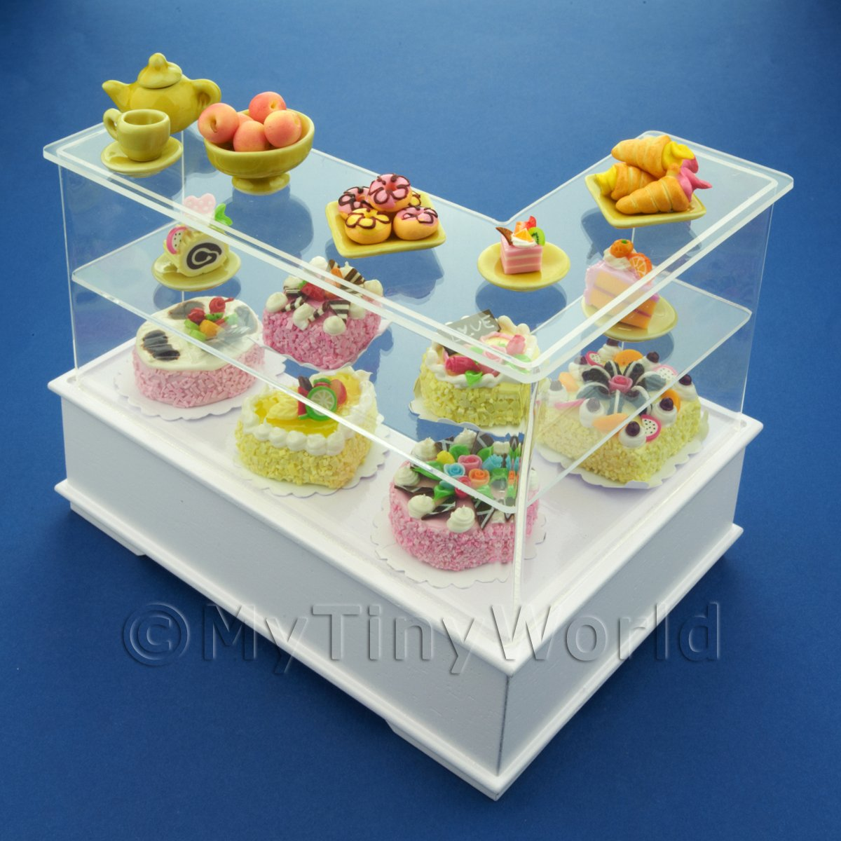 Dolls House Miniature Left Hand Yellow Themed Cake Counter