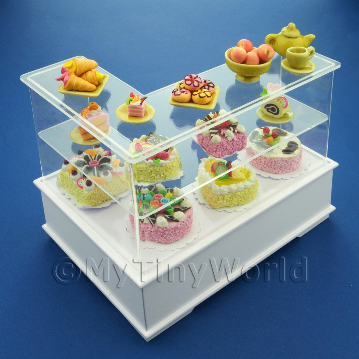 Dolls House Miniature Right Hand Yellow Themed Cake Counter