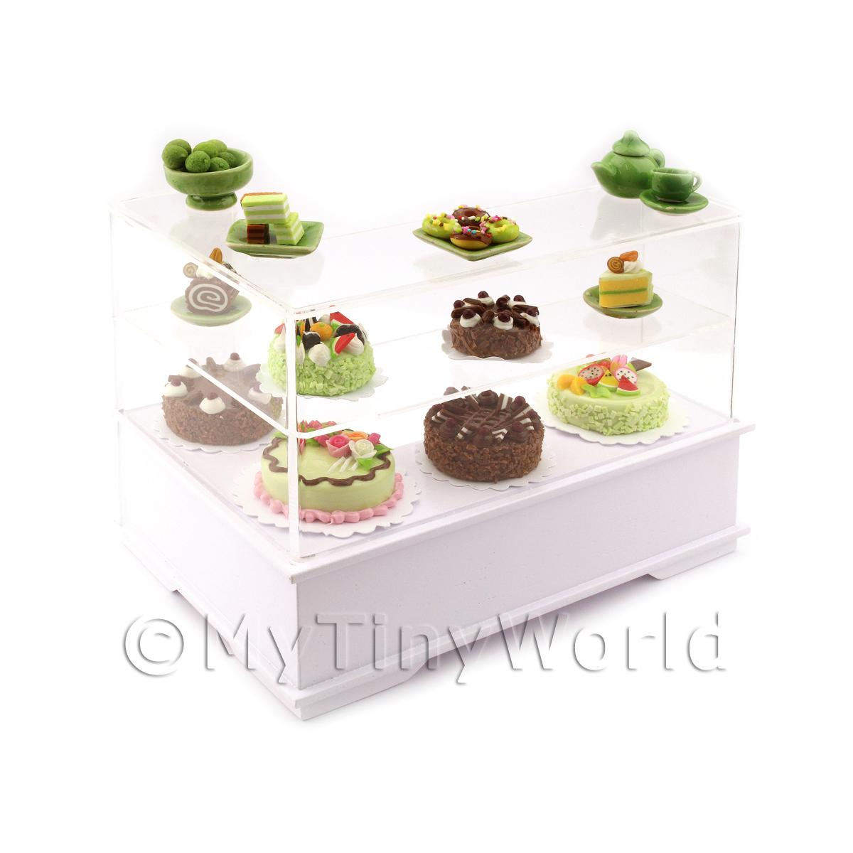 Dolls House Miniature Right Hand Chocolate Lime Cake Counter