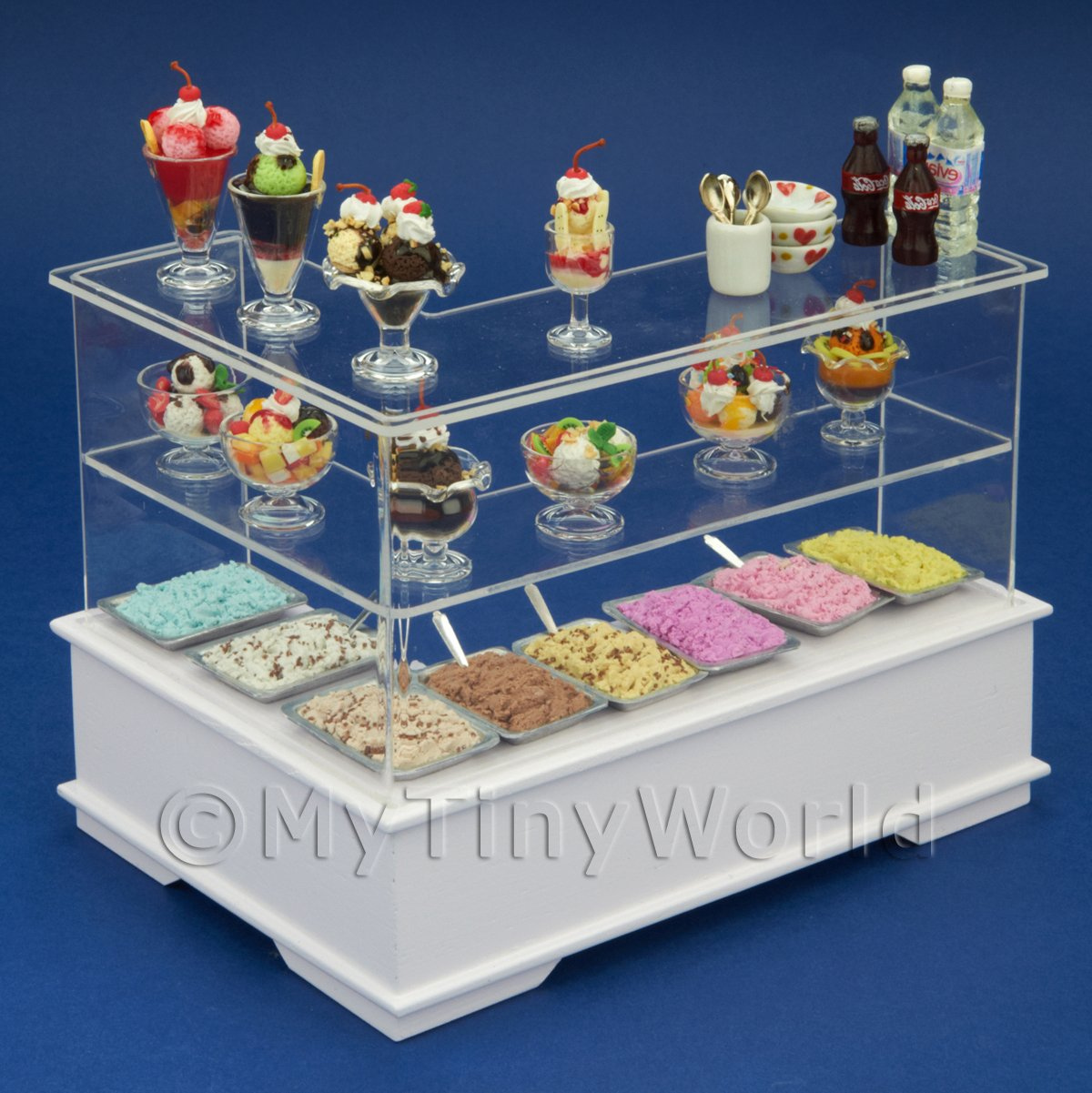Left Hand Dolls House Miniature Ice Cream Dessert Counter